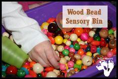 Wood Bead Sensory Bin - 3Dinosaurs.com (preschool or kindergarten)