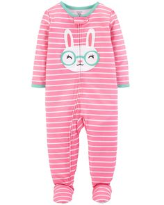 Featuring a sweet bunny embroidery, these jammies have her ready for bed in one easy zip! Carter's polyester is flame resistant without any chemical treatment.