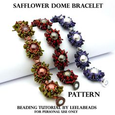 *P Safflower Dome Bracelet  PDF beading pattern by LeelaBeads on Etsy