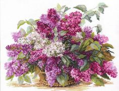 Cross Stitch Kit by Alisa - Lilac by ArtfulStitchings on Etsy
