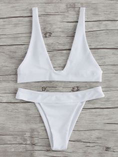 Shop Plunge Neckline Beach Bikini Set online. SheIn offers Plunge Neckline Beach Bikini Set & more to fit your fashionable needs.