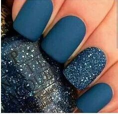 These nails are purely beautiful with a matte finish and glitter