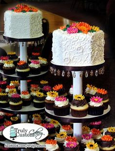 Gerbera Daisy Wedding Cake Cupcake Tree By CakeInfatuation on CakeCentral.com