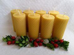 Kerzen - 8 Bienenwachskerzen, Stumpen H 105 mm D 4,5  - ein Designerstück von Imkerei-Hedi-Scheulen bei DaWanda