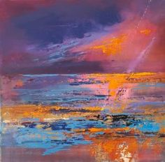 Painting by Sue Read, available as a large canvas print or paper print . Beautiful colours expressed in bold brushmarks of a sunset reflected on the sea and the sand Cornwall, Giclee Print, Art Prints, Paper, Painting, Art Impressions, Fine Art Prints, Painting Art, Paintings