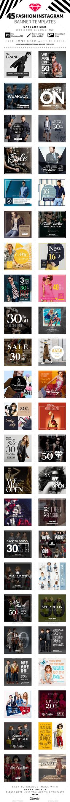45 Fashion Instagram Banner Templates  • Only available here ➝ http://graphicriver.net/item/45-fashion-instagram-banner-templates/16334322?ref=pxcr: