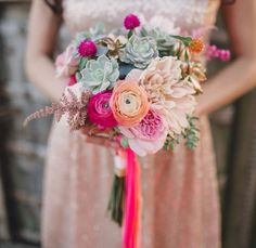 Shades of pink & succulents bouquet - A Terrain at Glen Mills Wedding Floral Wedding, Wedding Colors, Wedding Bouquets, Wedding Flowers, Wedding Shoes, Bridesmaid Bouquet, Wedding Dresses, Our Wedding, Dream Wedding