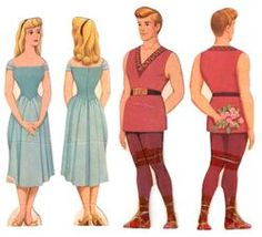 Vintage Paper Dolls from the 50's - Aurora and Prince Phillip Sleeping Beauty