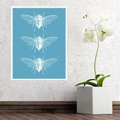 Cicada Trio Print Blue