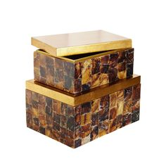 The Couture St. Armands Decorative Boxes Natural Penshell Tortoise & Gold-leaf - Set of 2 is the utlimate luxery style. Beautiful hand-applied penshell [natural shell] hand-applied over engineered wood, create these luxurious boxes.