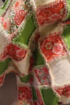 Handmade Flannel Rag Quilt Throw by FabricatedSwag on Etsy