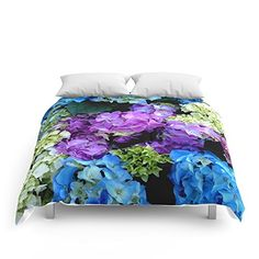 """Flower Comforters ,Flower Bedding,Home Decor,   Colorful Flowering Bush Comforters Queen: 88"""" x 88"""" by Costa. Our comforters are cozy, lightweight pieces of sleep heaven. Designs are printed onto 100% microfiber polyester fabric for brilliant images and a soft, premium touch. Lined with fluffy polyfill and available in king, queen and full sizes. Machine washable with cold water gentle cycle and mild detergent."""