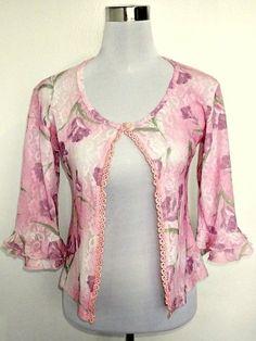 vintage ruffled sleeves shrug or cardigan in pink by VintageHomage, $18.00