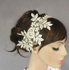 Bridal headband, lace applique  fascinator, weddings head piece, handmade. $39.00, via Etsy.