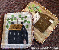 ThreeSheepStudio: Wool Applique Rustic Homestead Needlekeepers