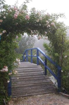 This would be a lovely bridge on the creek to the south, but I would paint it green instead of blue. And I need a gate on the end of it so the horses can't come across the bridge. Garden Gates, Garden Bridge, Foggy Morning, Pink Garden, Cabins And Cottages, Arbors, Types Of Flowers, Walkways, Water Features