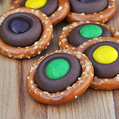 Easy---Hershey kiss pretzel rings (I'm thinking yes but I'll try the caramel kisses first, sounds sooooo good). I think using the peanut butter ones with reeses pieces as the centers would be a great combo too.