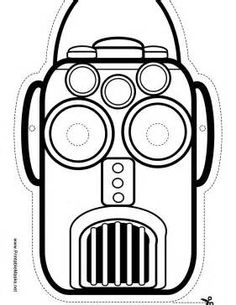this robot mask is blank for a fun coloring project his round eyes
