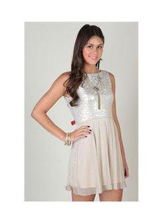 Damas Dresses Under $100 - Silver Dress With Foil Bodice