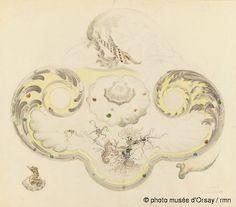 Emile Gallé Modèle d'écritoire en faience de forme rocaille, à décor de faune et de flore aquatiques : coquillages, hippocampe, ophiures, escargots, anémones et algues; détail d'un réservoir figurant en ronde-bosse un hippocampe et une coquille vers 1889 crayon et aquarelle H. 0.361 ; L. 0.474 musée d'Orsay, Paris, France