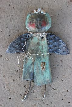 """original mixed media metal from my fire abstract angel 6x4""""  k d milstein fadedwest"""