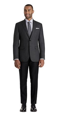 Gray Birdseye Unsuit | Black Lapel