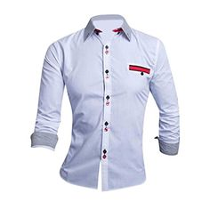 35ffa56e61 Jeansian Uomo Camicie Moda Men Shirts Slim Fit Casual Fashion 8656 White L   Amazon.it  Abbigliamento. Camisas Masculina ...