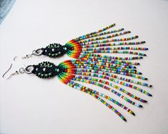 Extra long micro macrame earrings Tassel Fringe by MartaJewelry