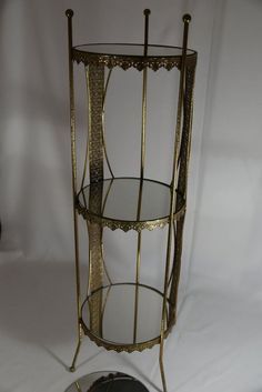 Accent Table Plant Stand Metal Filagree Ormolu Gold Vtg Hollywood Regency 3-Tier
