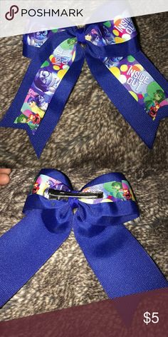 Inside Out Hair Bow 🎀 Pick any 2 bows from my closet for $10!!🎀Double ribbon Disney inside out Hair Bow, alligator clip, smoke/pet free home Disney Accessories Hair Accessories