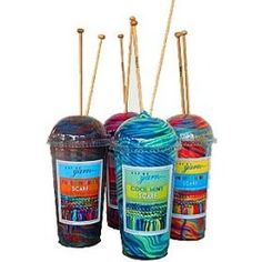 Cup of Yarn  - Scarf Knitting Kit with Wooden...