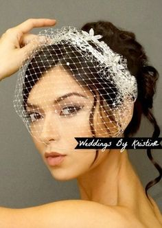 Arabella: Crystal Birdcage Veil and Enchanting Bridal Comb IVORY  #gatsby #wedding #1920's