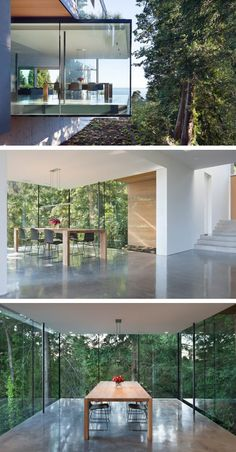 This home in Vancouver, Canada, features a glass enclosed dining room. Summer Door Wreaths, Wreaths For Front Door, Residential Architecture, Interior Architecture, Doors And Floors, House In Nature, Modern Stairs, Space Interiors, Amazing Spaces