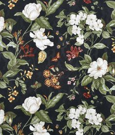 Waverly Garden Images Black Fabric - $19.5 | onlinefabricstore.net