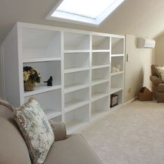 Dormer Shelves Design, Pictures, Remodel, Decor and Ideas. Like the open shelf idea! Wont close in the space like cabinets do