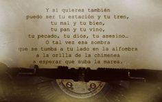 """""""Y si quieres también puedo ser tu estación y tu tren, tu mal y tu bien, tu pan y tu vino, tu pecado, tu dios, tu asesino… O tal vez esa sombra que se tumba a tu lado en la alfombra a la orilla de la chimenea a esperar que suba la marea."""" Joaquín Sabina Fragmento de """"A la orilla de la chimenea"""" http://youtu.be/Y7rBEq9B6j4"""