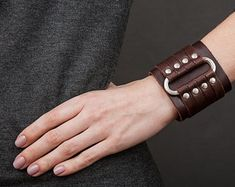 Leather bracelet, brown wide cuff, gothic jewelry bangle, men women wristband, arm wrap bracelet, unisex minimal jewelry, rock cuff