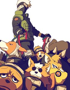 Kakashi paseando con sus perros ninja