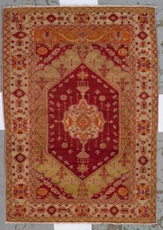 Oushak rug  West Anatolia,  circa 1900  size approximately 3ft. 9in. x 5ft. 3in.