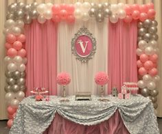 Pink and grey theme with balloons and fabric. -- Parties, birthday, girl, sweet sixteen, first year, baby, teen, cute, fancy