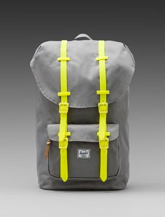 Shop for Herschel Supply Co. Weather Pack Little America in Grey & Yellow Rubber at REVOLVE. Fashion Bags, Fashion Accessories, Mens Fashion, Men's Backpacks, Leather Backpacks, Herschel Supply Co, Backpack Bags, Duffle Bags, Grey Yellow