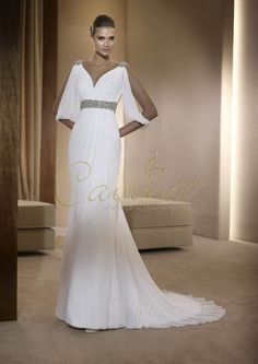 Grecian wedding gown... not gonna fit my wedding theme, but i LOVE the sleeves!