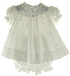 Bow Peep Newborn Baby Girls White Bishop Dress Smocked in Blue