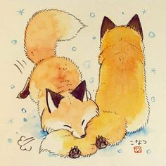 Pin by ruthie on illustration in 2019 cute drawings, art, an Cute Animal Drawings, Kawaii Drawings, Cute Drawings, Cute Fox Drawing, Anime Animals, Cute Animals, Desu Desu, Fox Art, Kawaii Art