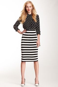 Vince Camuto Striped Tube Skirt