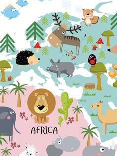 Mooie kinderposter met kaart in mooie kleuren glass art 1 world map animals poster gumiabroncs Images