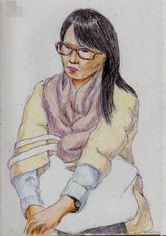 茶色い眼鏡のお姉さん(通勤電車でスケッチ) It is a brown glasses of women's sketch. I drew in a commuter train.