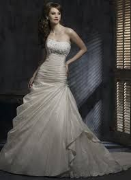 A line wedding dress w/ corset