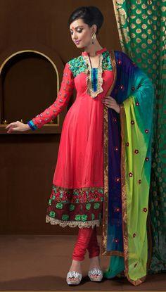 Red Full Sleeve Faux Georgette Anarkali Salwar Kameez 12288