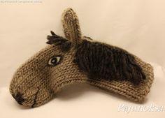 Heppalapaset, horse mittens Kids Knitting Patterns, Knitting For Kids, Crochet For Kids, Loom Knitting, Knitting Projects, Crochet Projects, Crochet Animal Hats, Crochet Horse, Knit Crochet